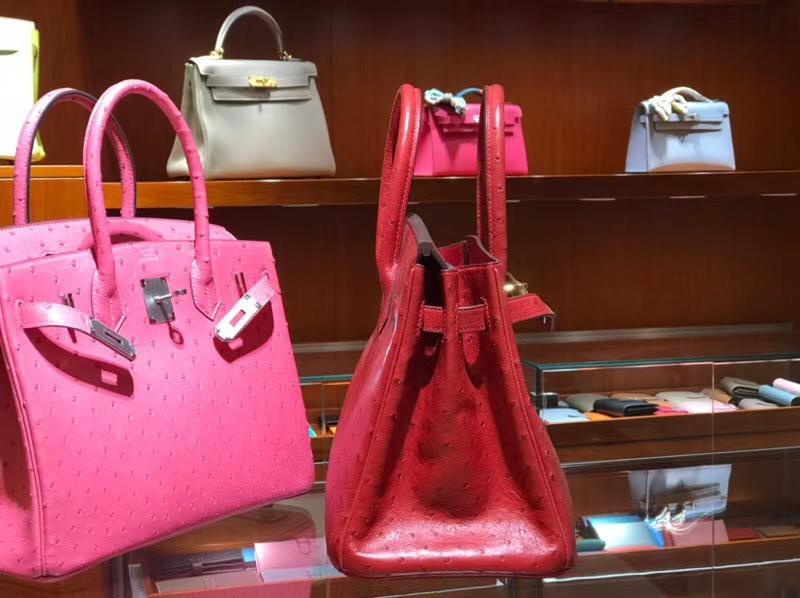铂金包 Birkin 30cm 鸵鸟皮 中国红 3M Rouge Laque 金银扣都可以定制 配全套专柜原版包装