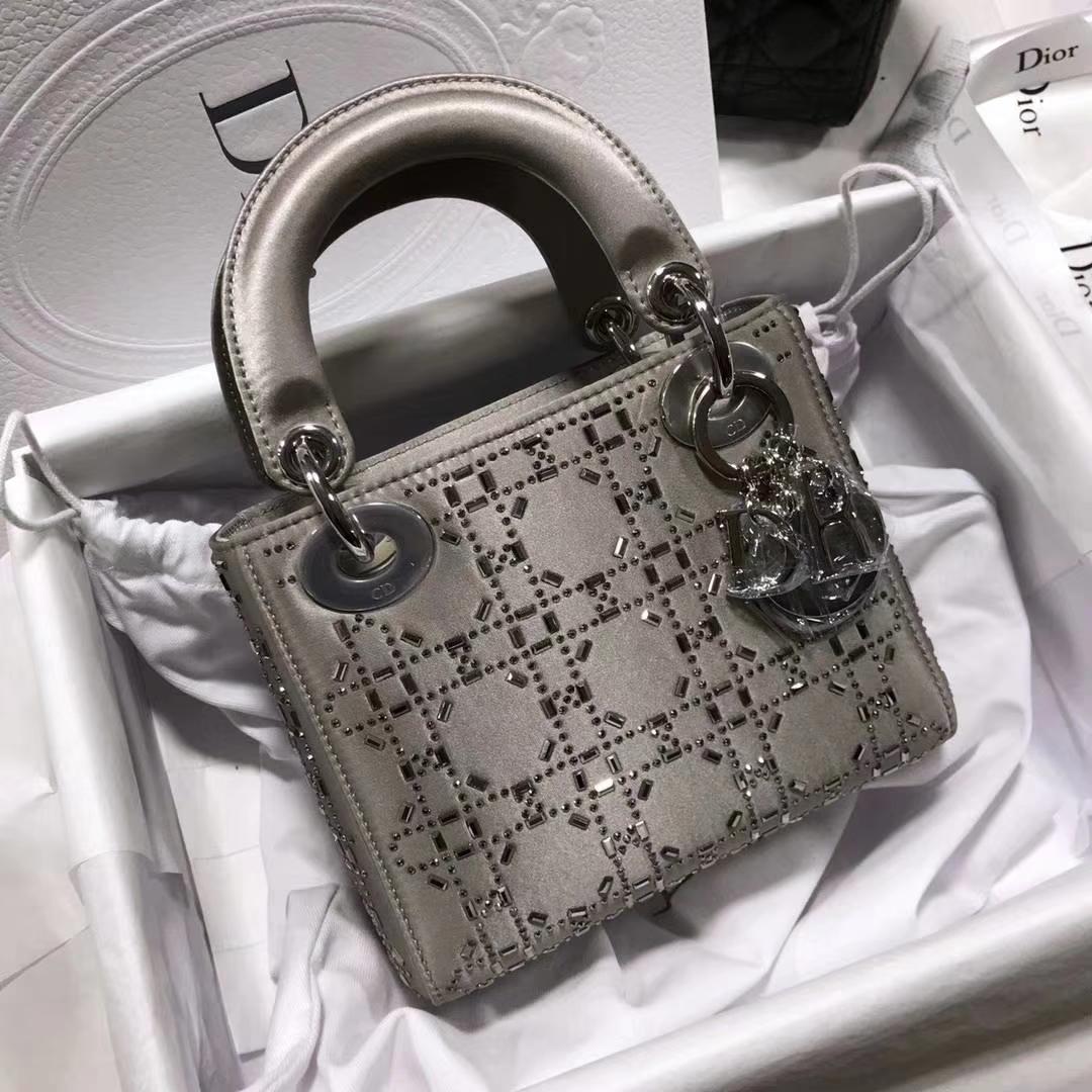 Dior 限量款 三格缎面灰色 水钻包 一件代发 媲美正品