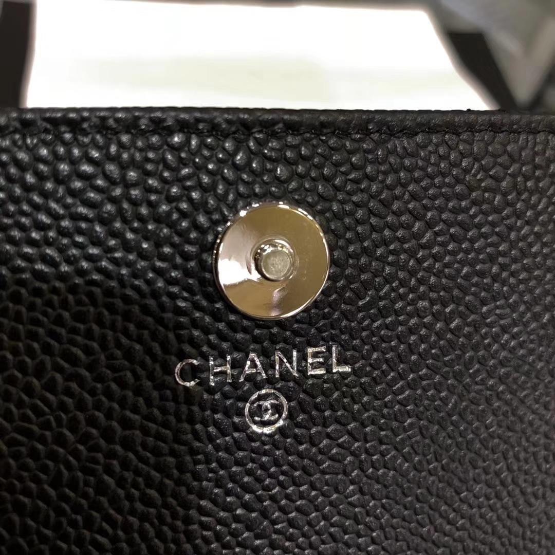 Chanel香奈儿 钱包 woc 迷你17cm 球纹 黑色银