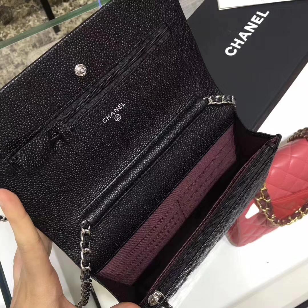 Chanel香奈儿 WOC 球纹 黑色牛皮 银色五金