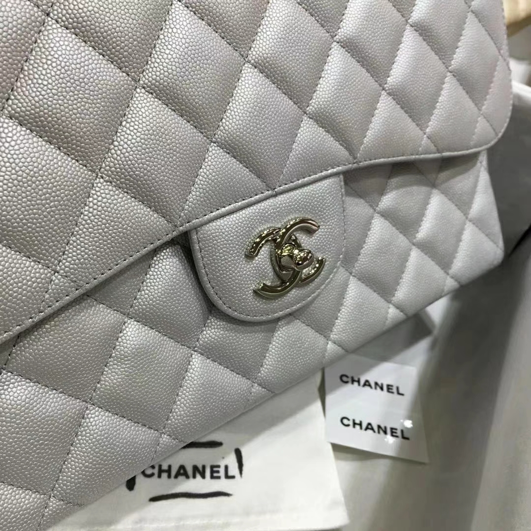 Chanel 香奈儿 Cf系列 30cm 进口小鱼子酱 银色 银扣