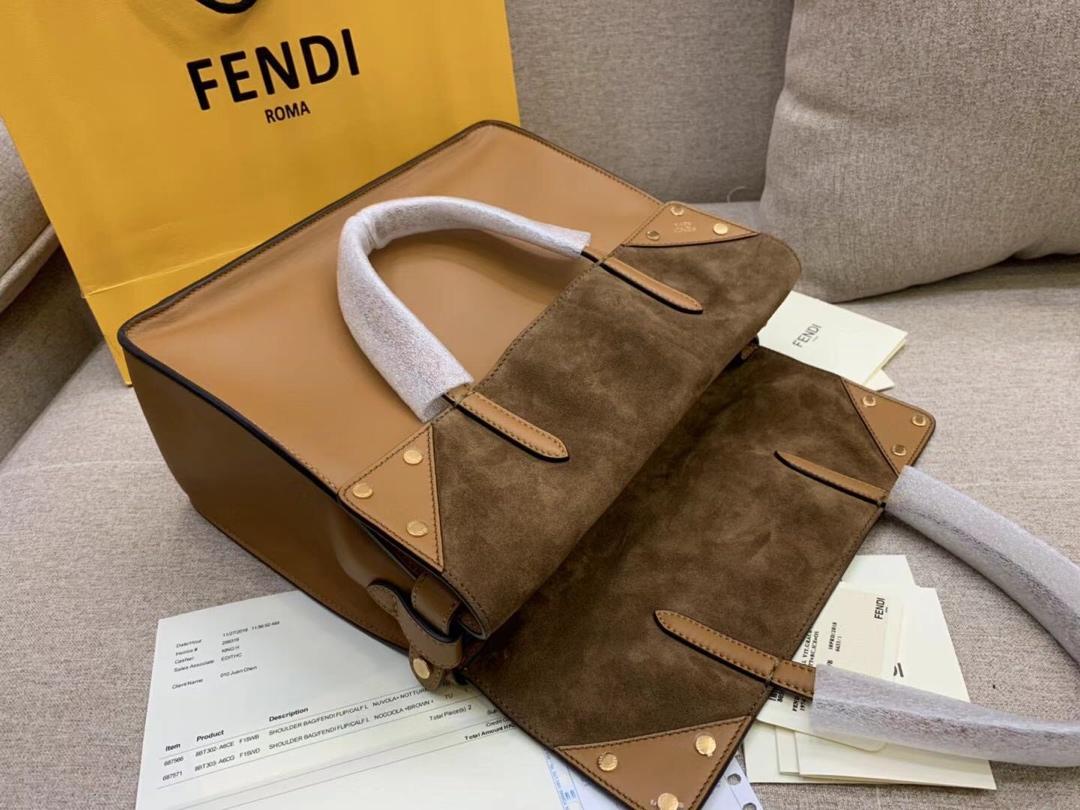 Fendi Flip最新系列FF长肩带 原版开发 单肩斜挎手提三用 土黄拼色橄榄绿