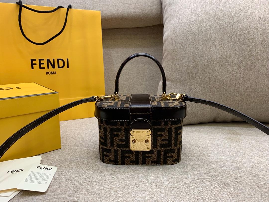 FENDI 芬迪 vintage盒子 大容量 棕色FF图案 17x12x9cm棕色8002