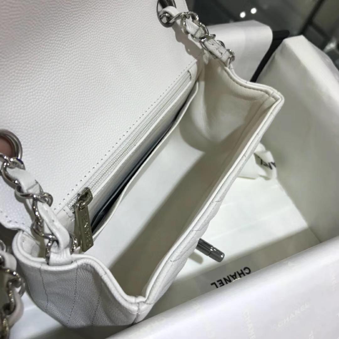 Chanel 香奈儿 V字绣 小鱼子酱 白色 17cm 银色(现货)