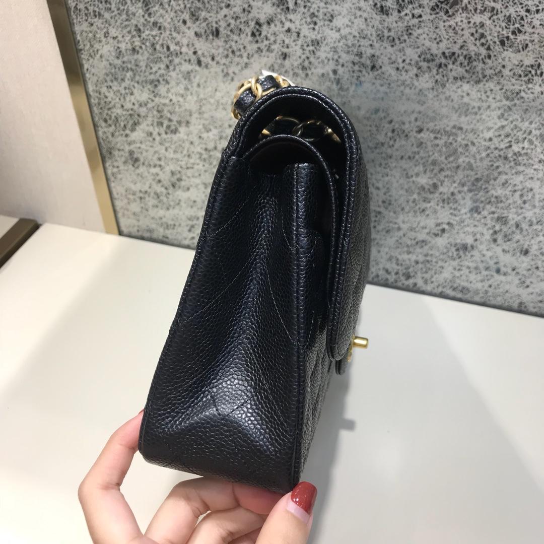 Chanel 香奈儿  Classic Flap 代购版本 25cm 进口鱼子酱 黑色 磨砂金扣