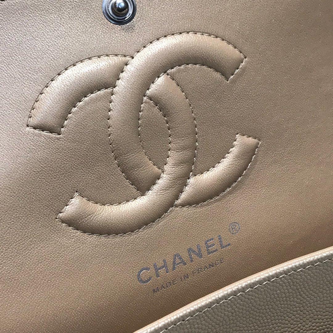 Chanel 香奈儿 ClassicFlap 代购版本 25cm 进口小鱼籽酱 金色 银扣