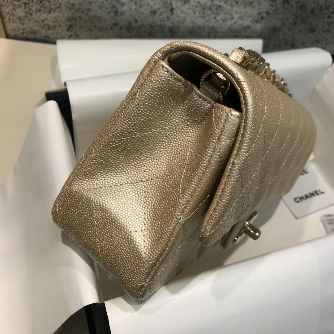 Classic Flap 代购版本 20cm 进口定制小鱼子酱 金色 金扣 进口定制皮