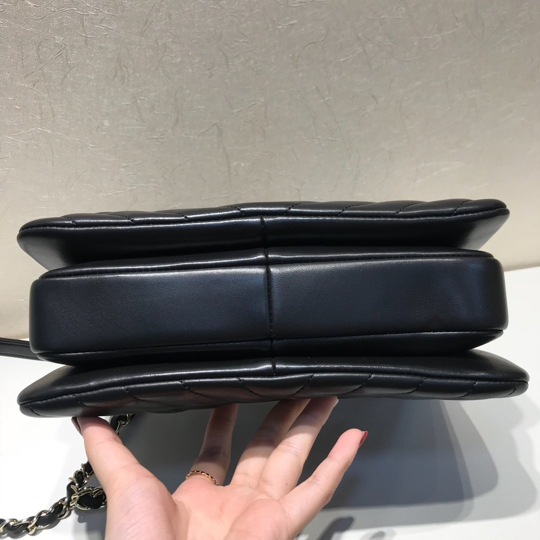 Trendy cc  代购版本 25cm 进口定制小羊皮 黑色 浅金扣