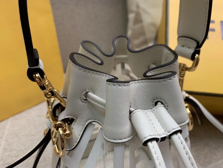 Fendi 芬迪 Mon Tresor 小号水桶手袋 全透明的TPU 18x12x10cm 白色