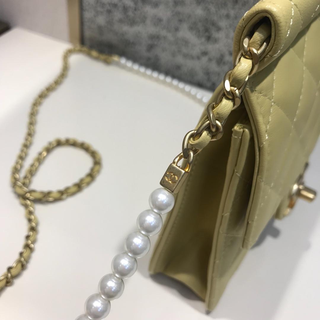 Chanel 香奈儿 新款链条珍珠包小号 进口小羊皮 黄色 沙金