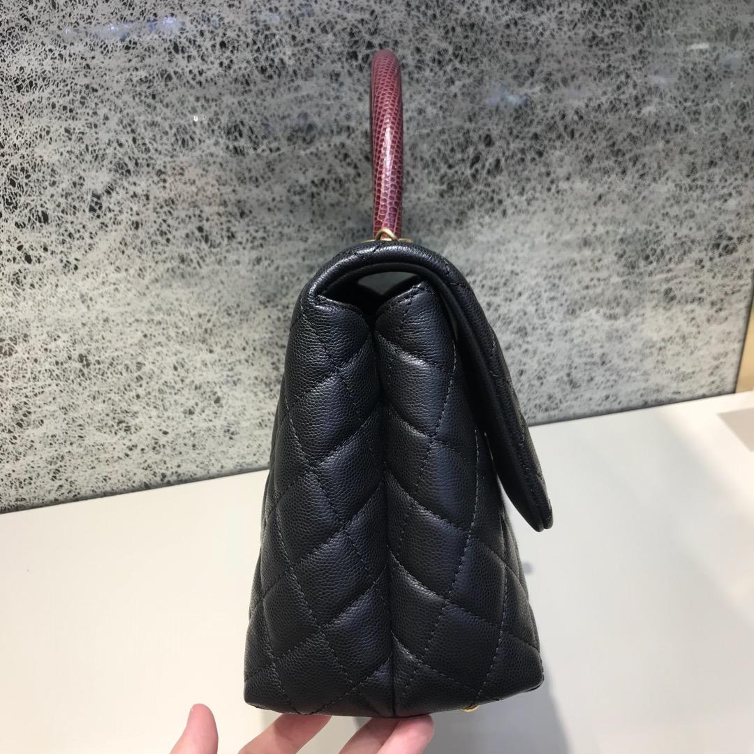 CoCo Handle 顶级代购版 28cm 原厂小牛皮 蜥蜴皮手柄 黑色 沙金