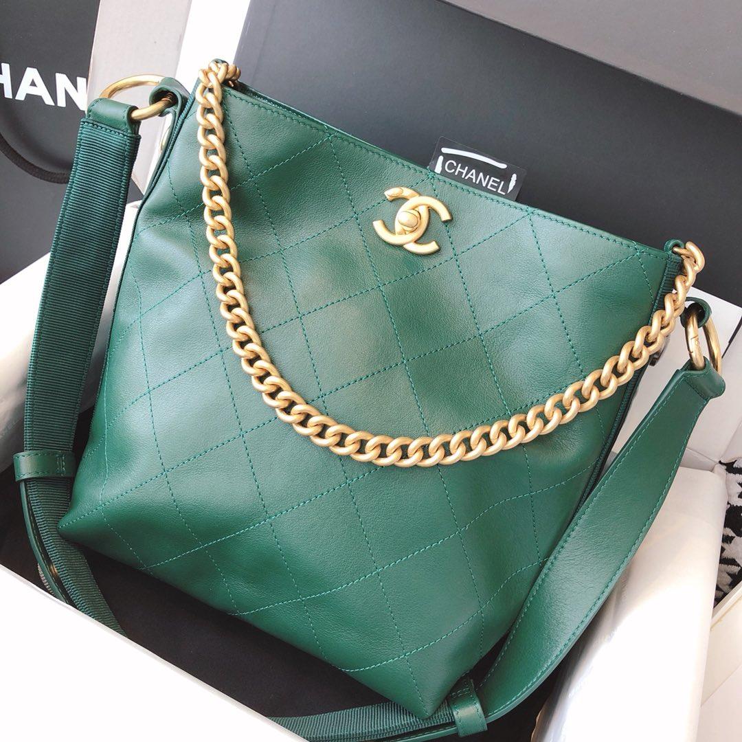 Chanel 嬉皮包 单肩斜挎包 绿色 23cm 原厂皮 现货