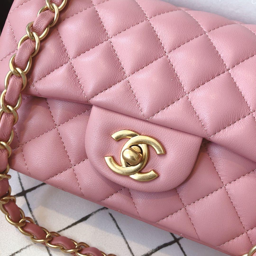 Chanel 香奈儿 真品级 原厂bodin joyeux 羔羊皮 CF 20cm 现货 樱花粉