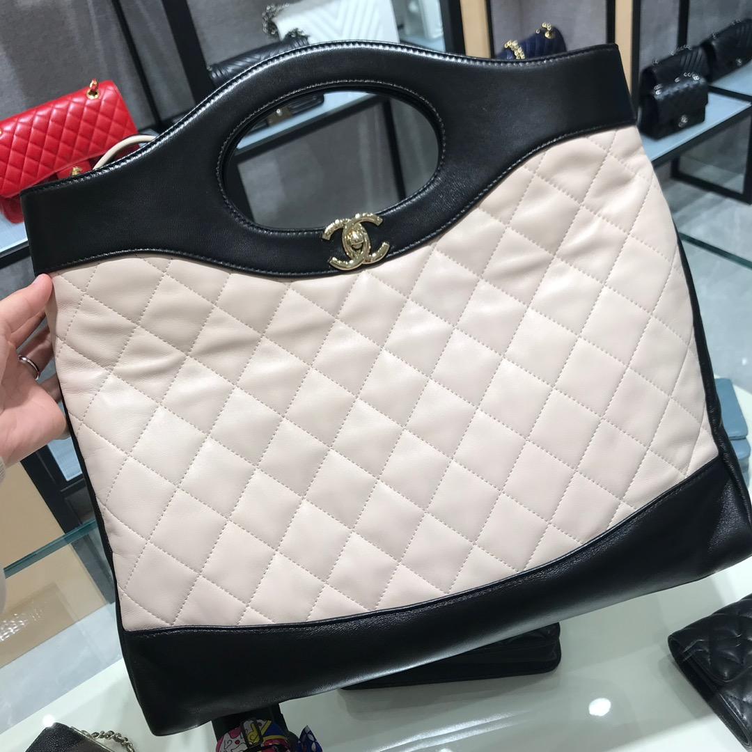 Chanel 香奈儿3 1手提袋 顶级代购版本 原厂小羊皮 杏色配黑色