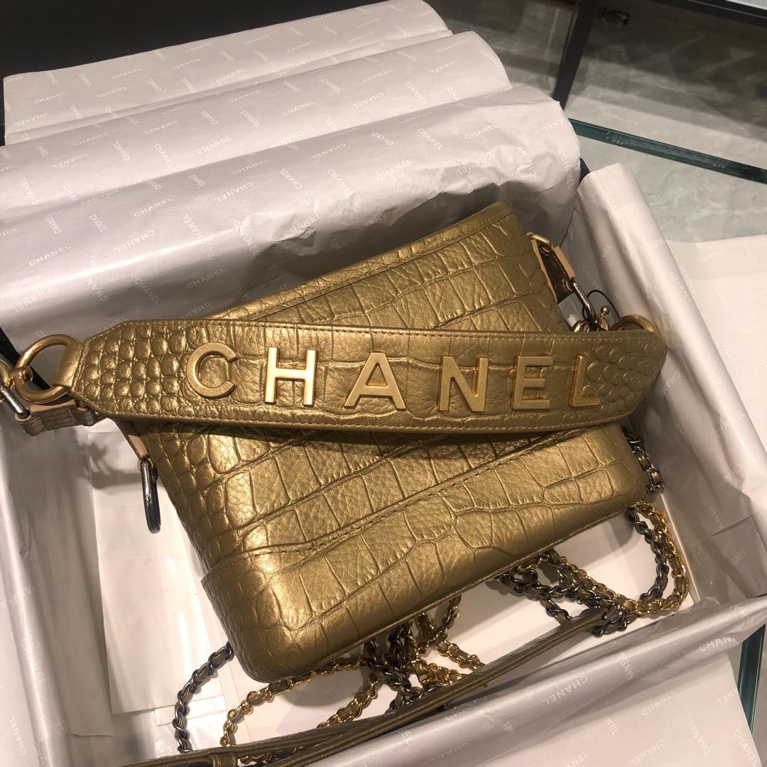 Chanel 香奈儿 埃及风系列鳄鱼压纹牛皮 流浪包 专柜限量款 20cm 金色 现货