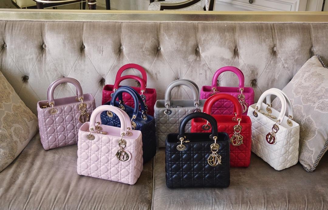 Dior 迪奥 戴妃包 Lady Dior 五格 24cm 羊皮 白色 天方夜谭紫 珠光粉 淡粉色 电光蓝 黑色 灰色 金扣