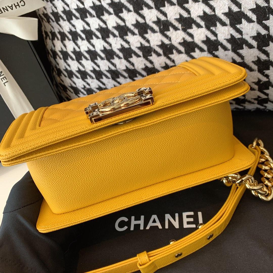 Chanel 香奈儿 小号 法国原厂Haas小球纹鱼子酱牛皮 leboy 经典菱格 20cm 芒果黄浅金扣