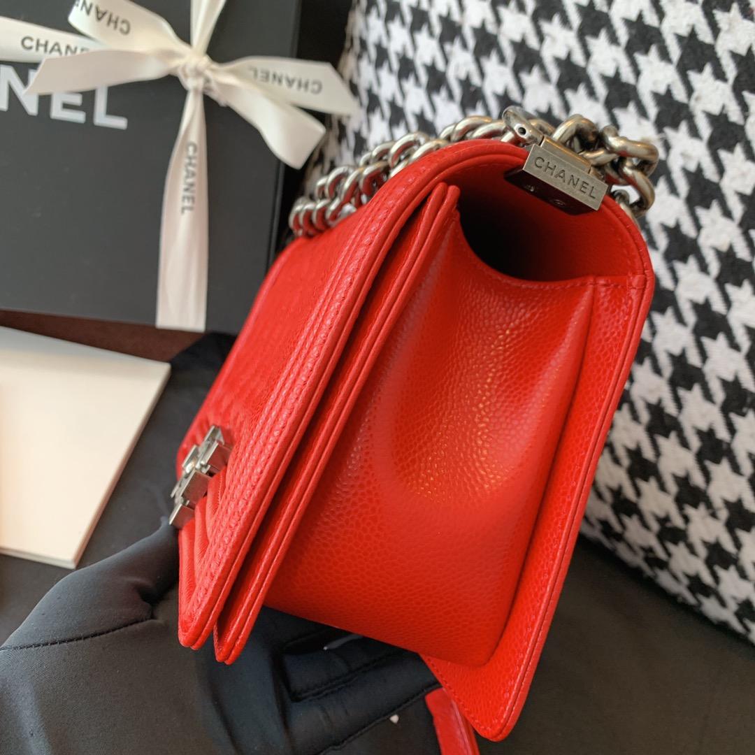 Chanel 香奈儿 法国原厂小羊皮leboy经典V格25cm 大红古银扣