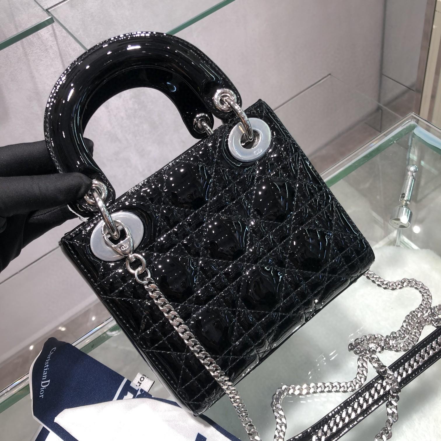 Dior 迪奥 Lady 三格 漆皮 黑色 银扣 17cm