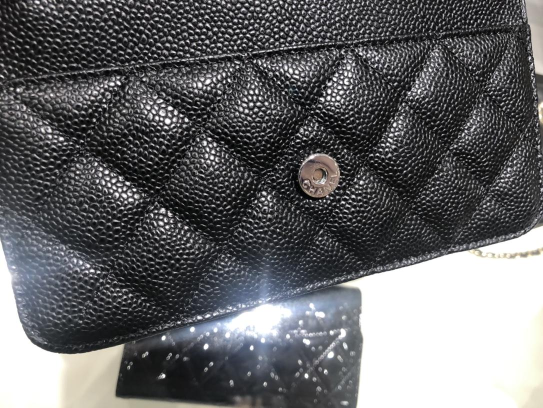 Chanel中国官网 《Woc 发财包》新款磁铁扣~代购版本19cm~原厂进口皮~鱼子酱~黑色