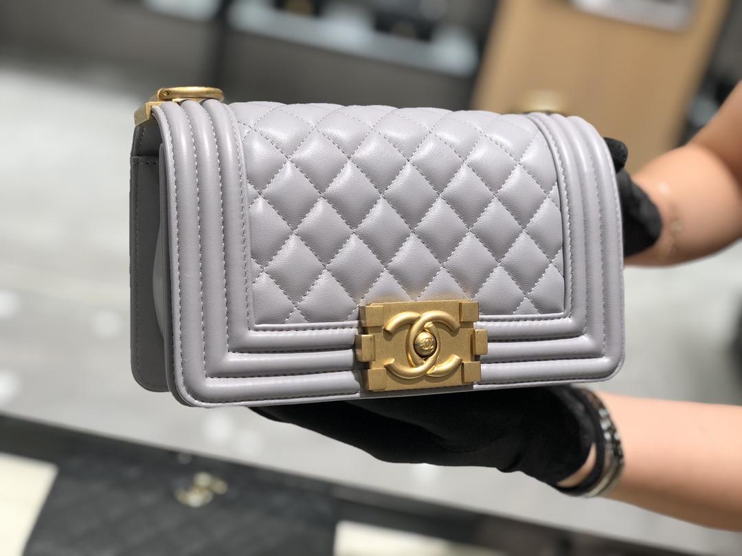 Chanel香奈儿女包 小号Leboy 法国原厂小羊皮 经典菱格20cm 现货 高级灰 金扣