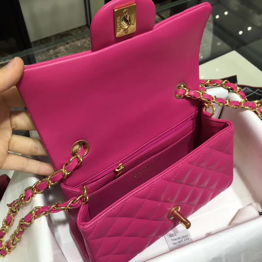 Chanel 香奈儿 Classic Flap  小羊皮 玫红色 20cm 金