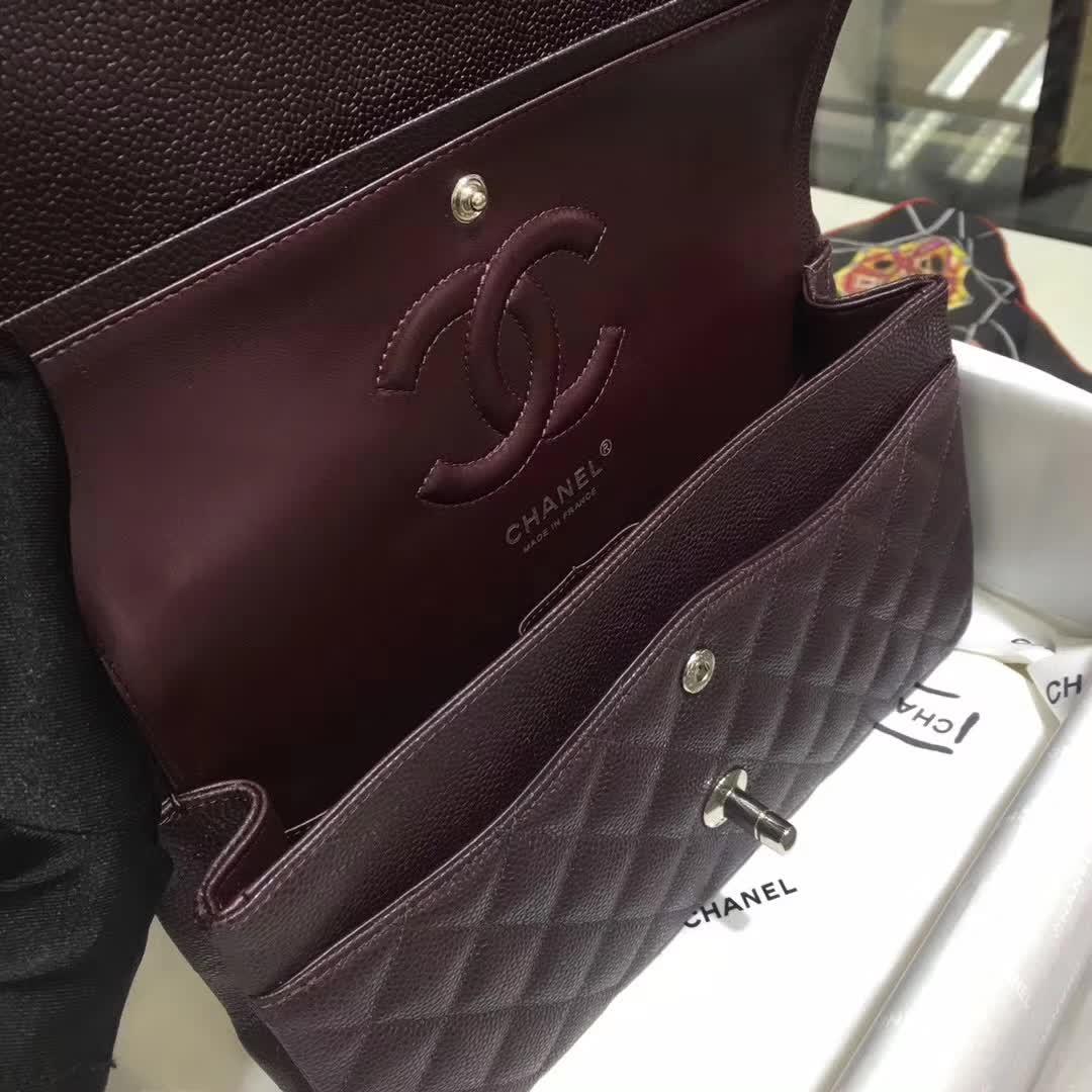 Chanel 香奈儿 Classic Flap  鱼子酱 咖啡色 25cm 银 一件代发