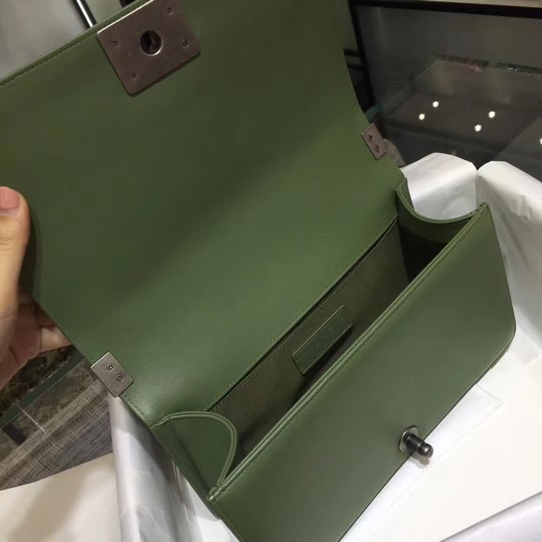 Chanel 香奈儿 Leboy  大V同款 胎牛皮 橄榄绿 25cm 古银