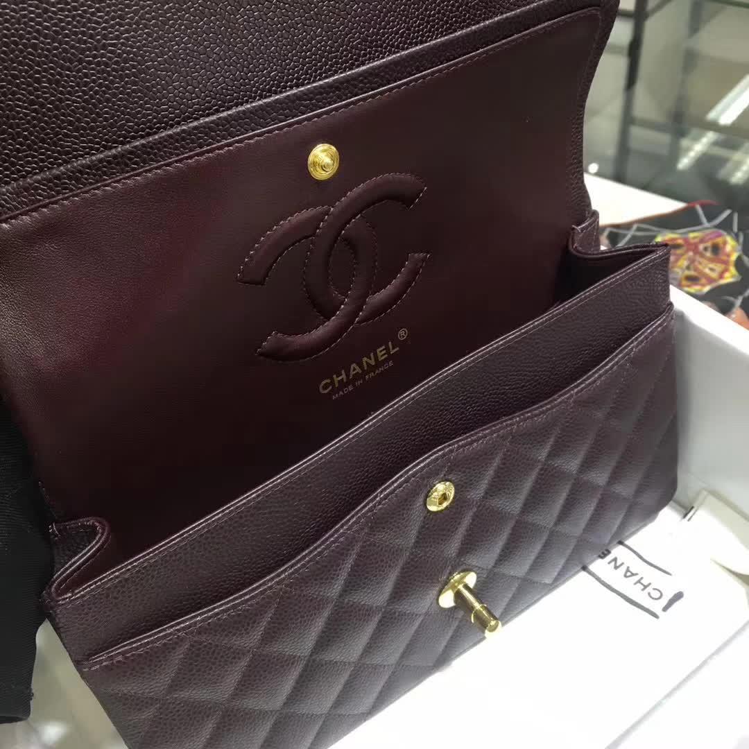 Chanel 香奈儿 Classic Flap 鱼子酱 咖啡 25cm 金