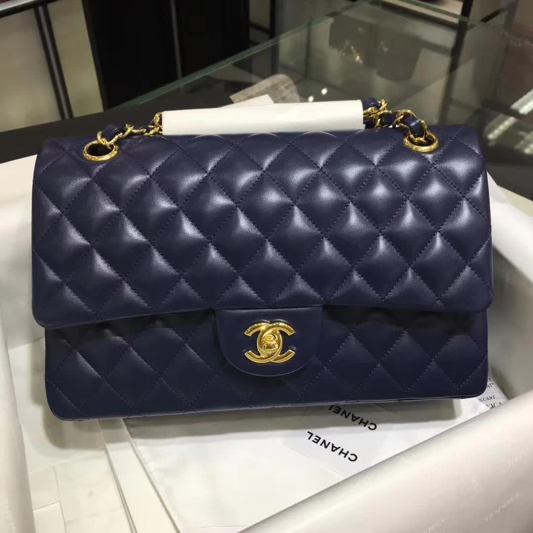 Chanel 香奈儿 Classic Flap 小羊皮 宝石蓝 25cm 金