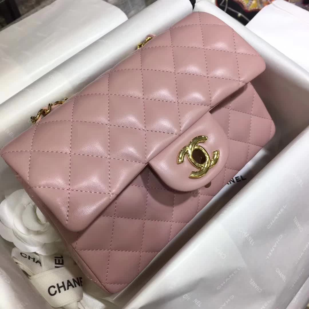 Chanel 香奈儿 Classic Flap 小羊皮 浅粉 20cm 金