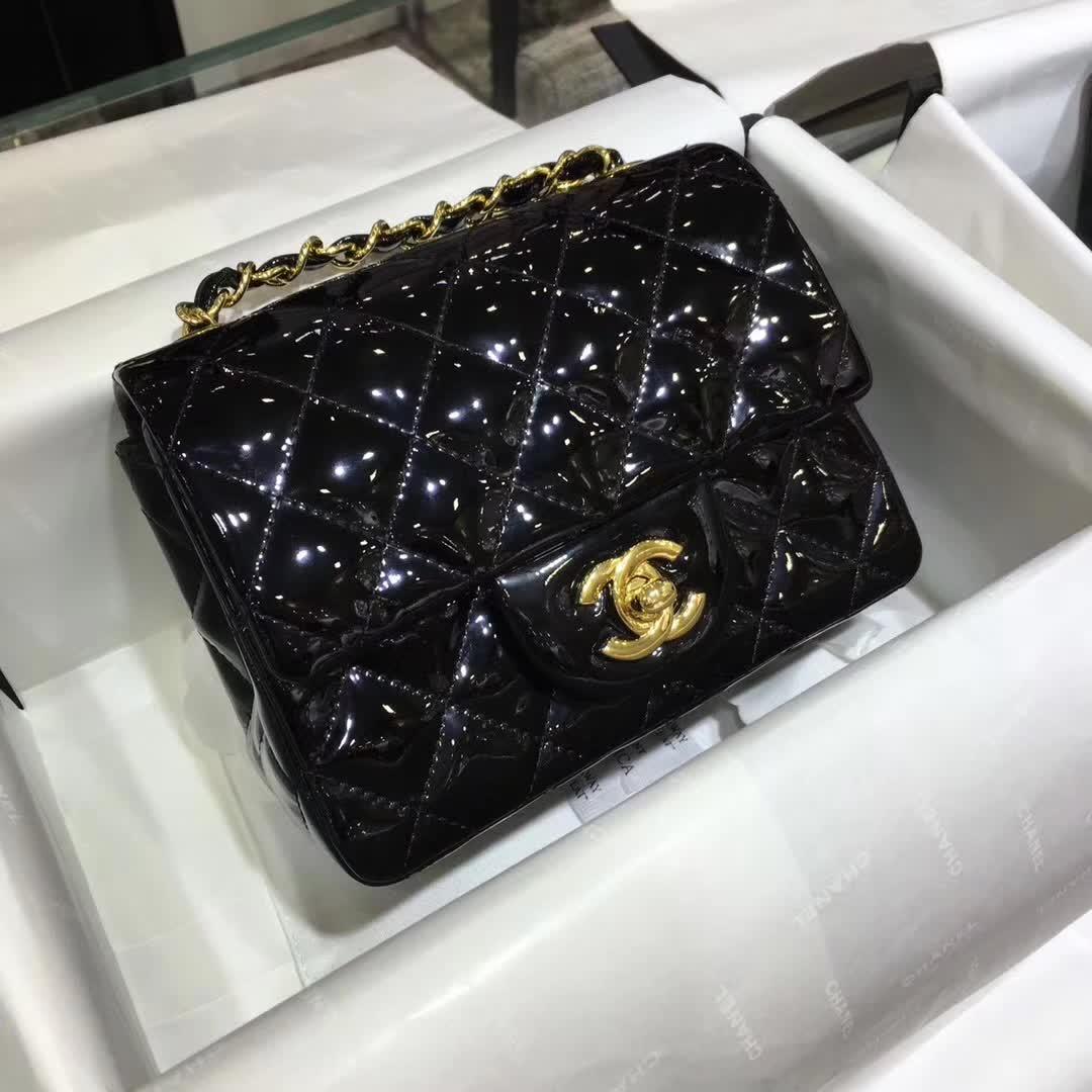 Chanel 香奈儿 正品打板 Classic Flap 漆皮 黑色 17cm  金