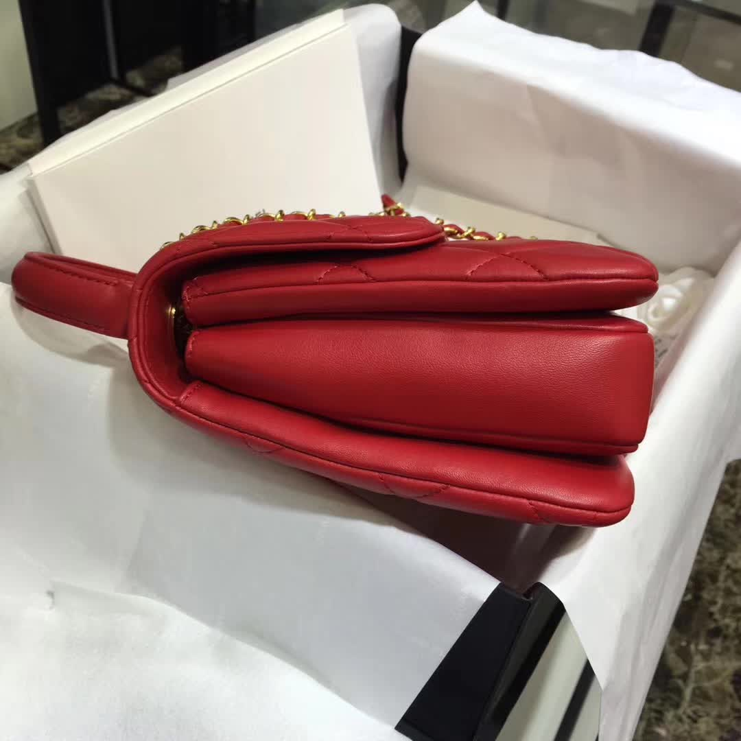 Chanel 香奈儿 Trendy 小羊皮 大红色 25cm 金色