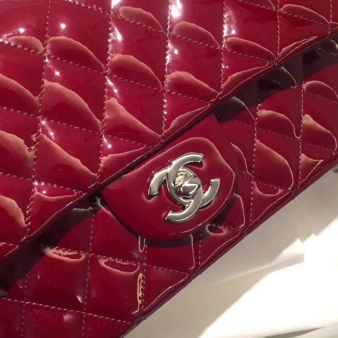 Chanel 香奈儿 Classic Flap  漆皮 酒红 25cm 银