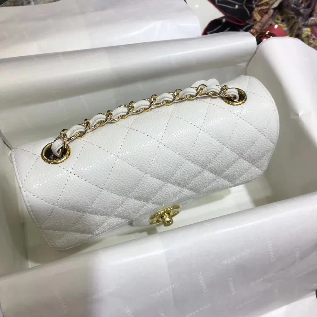 Chanel 香奈儿 CF鱼子酱白色20cm车边款的