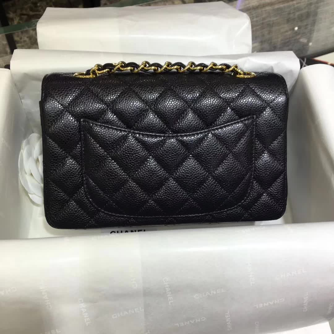 Chanel Classic Flap 鱼子酱 黑色 20cm 车边 金扣