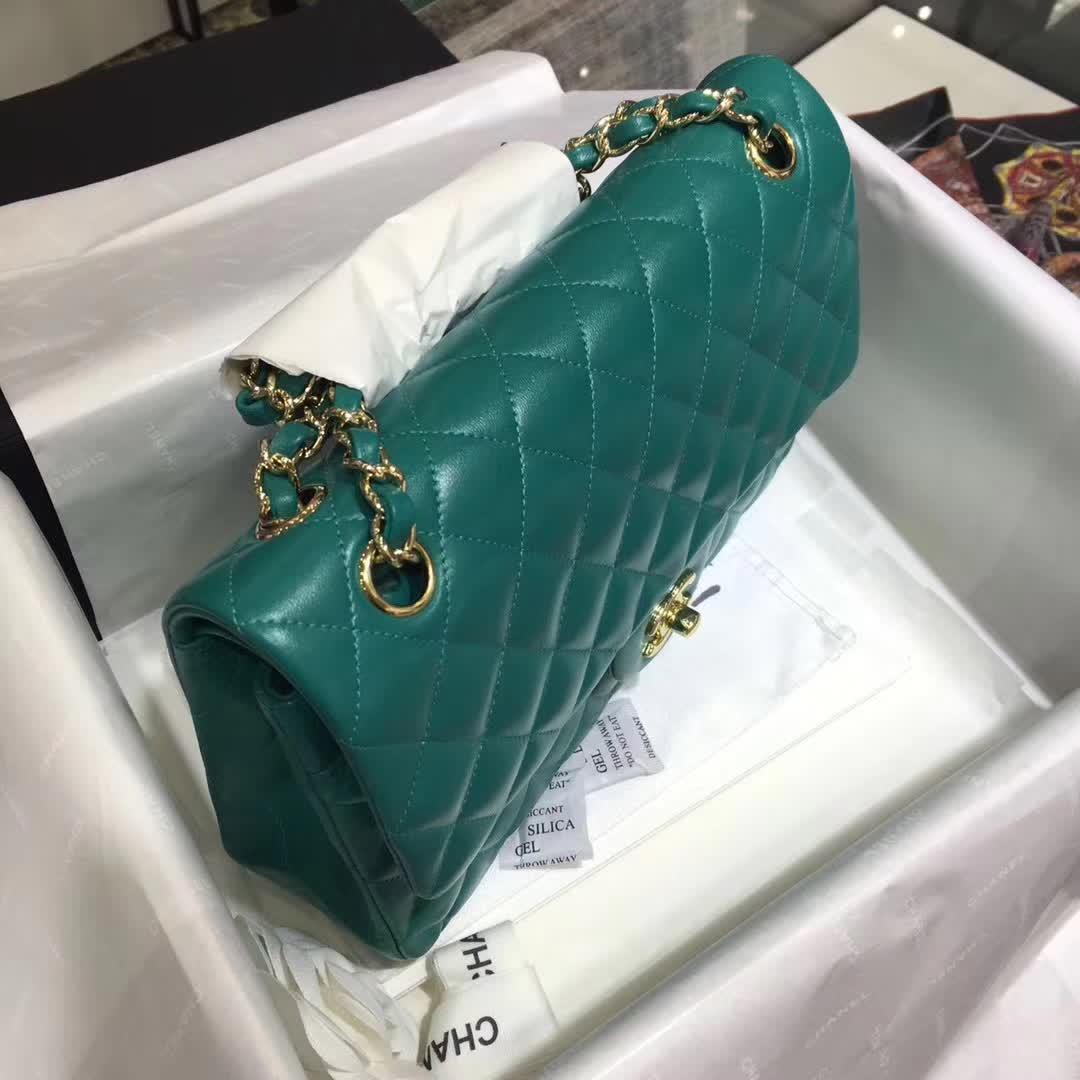 Chanel Classic Flap 小羊皮  翡翠绿 25cm 香槟金五金扣