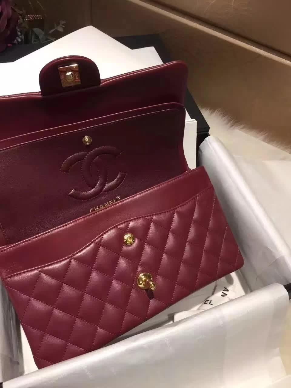 香奈儿 Classic Flap 小羊皮 枣红 25cm 金色五金