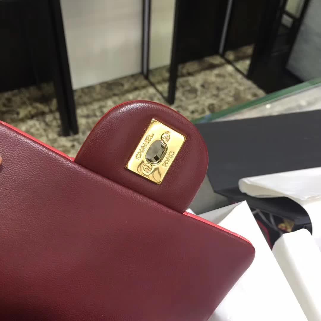 Chanel 香奈儿 Classic Flap 小羊皮  拼色 17cm 金扣
