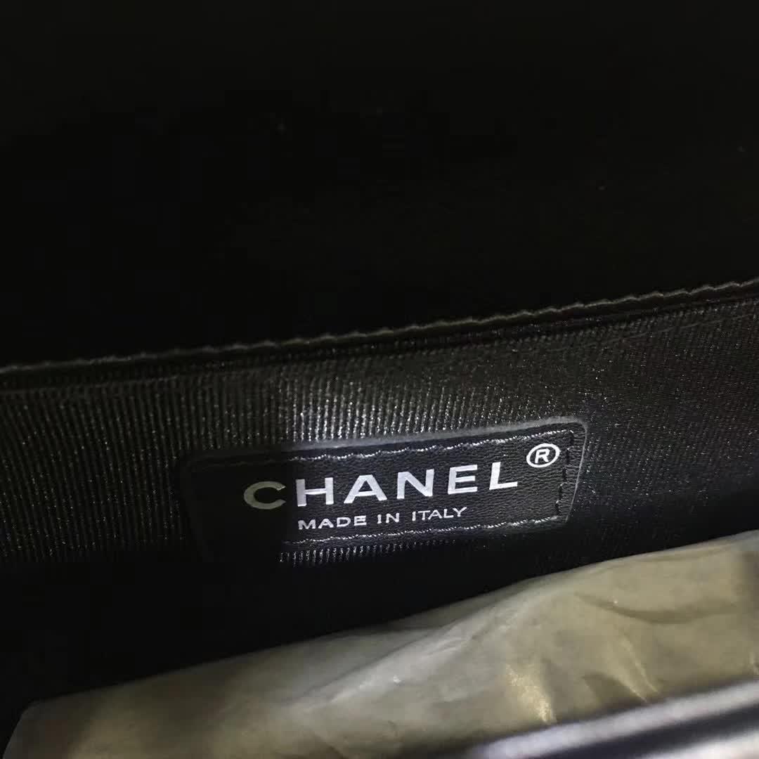 Chanel 香奈儿 Leboy V字绣 羊皮 黑色 25cm 古银五金