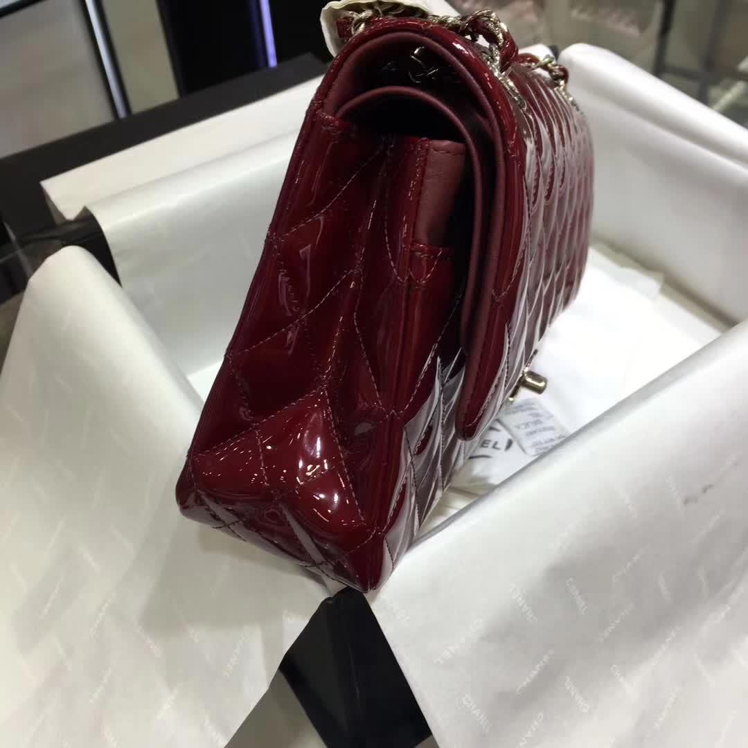 Chanel 香奈儿 Classic Flap 漆皮 酒红 25cm 银五金