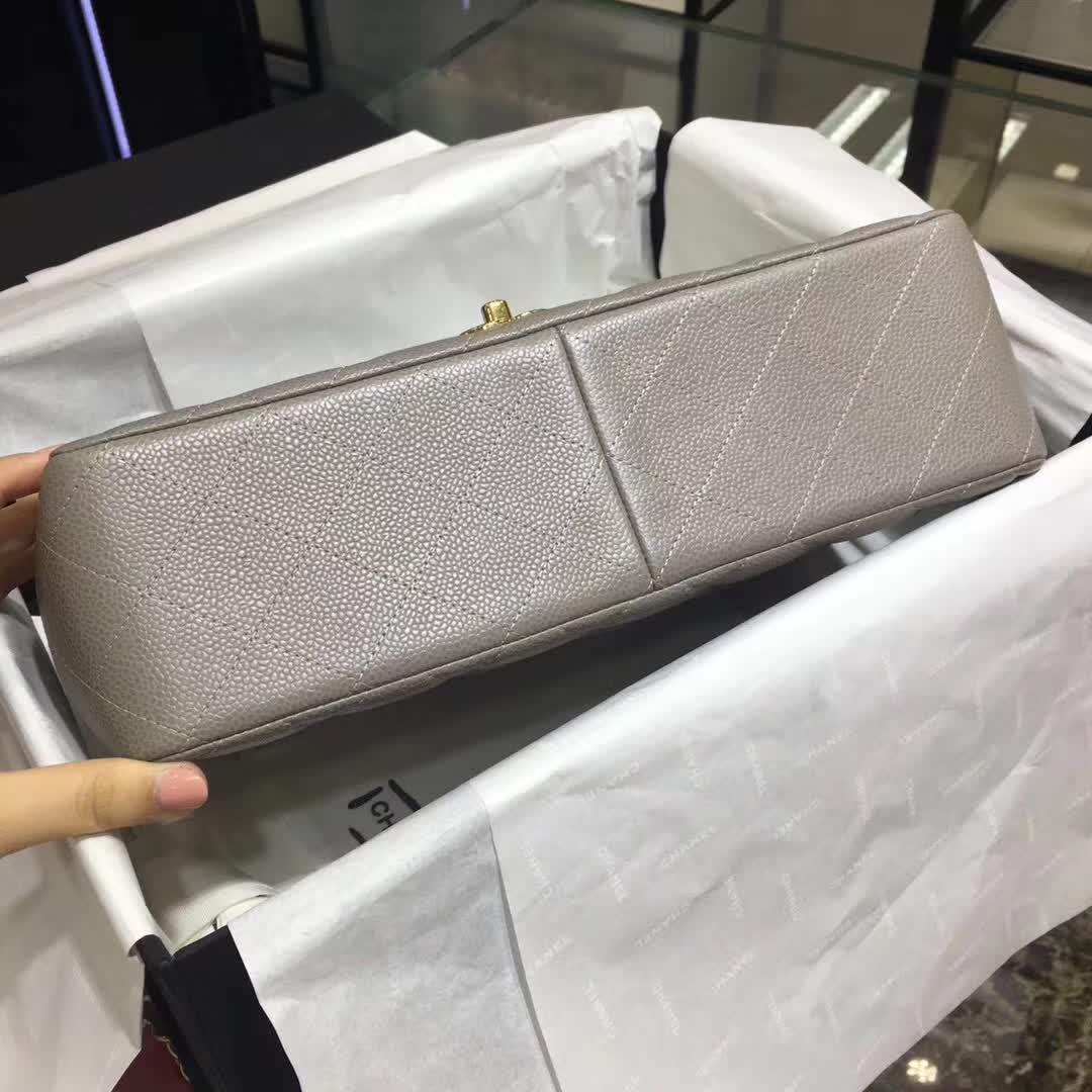 Chanel 香奈儿 Classic Flap 鱼子酱 灰色 30cm 金扣