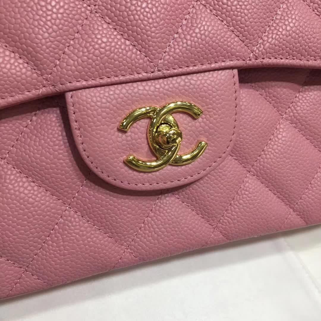 Chanel 香奈儿 Classic Flap 鱼子酱 桃粉 30cm 金色五金