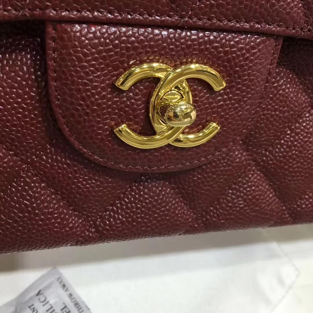 Chanel 香奈儿 Classic Flap 鱼子酱 枣红 30cm 金色五金