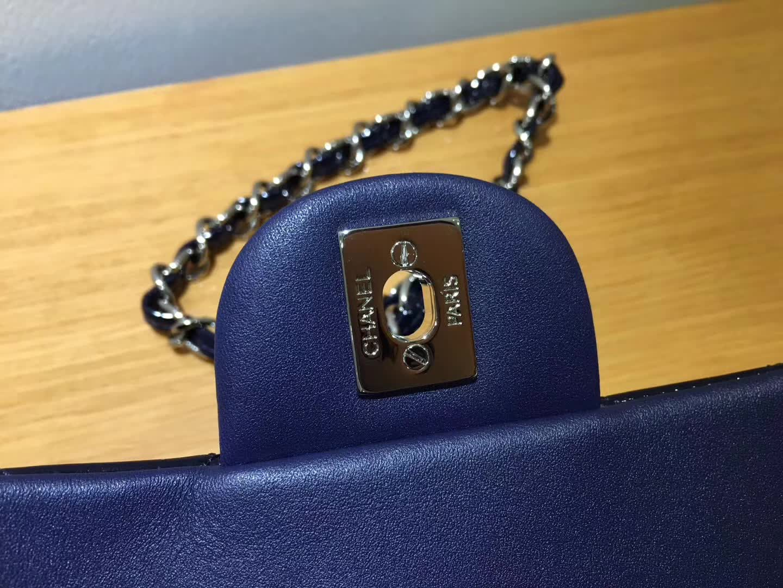 Chanel 香奈儿 Classic Flap 漆皮 宝石蓝 17cm  银