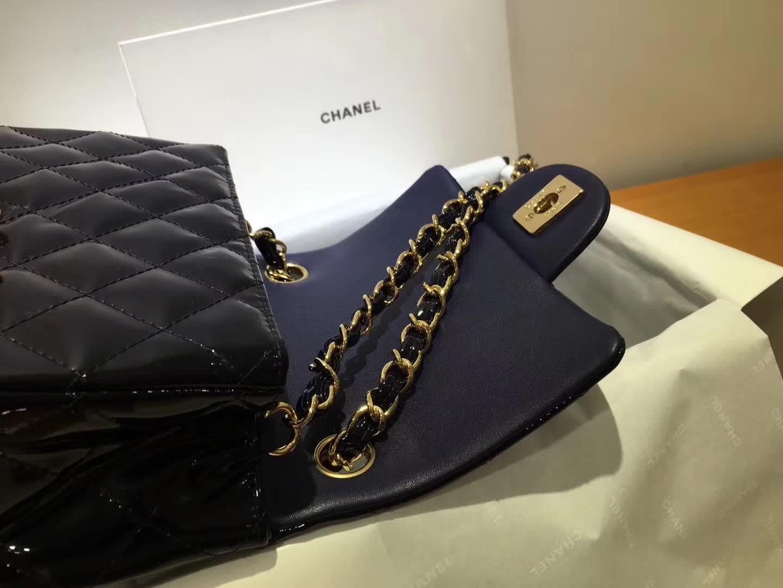 Chanel 香奈儿 Classic Flap 漆皮 宝石蓝 17cm 金