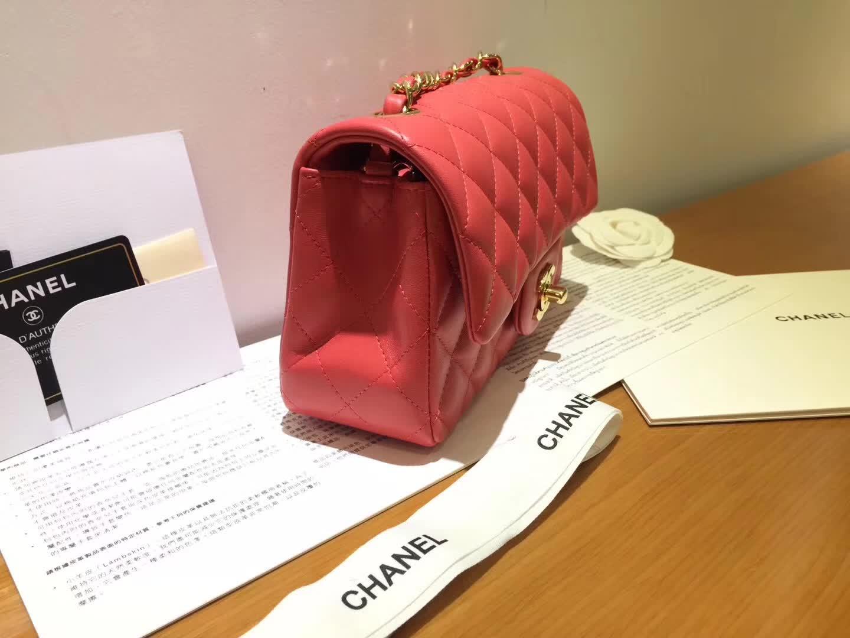 Chanel 香奈儿  Classic Flap 小羊皮 西瓜红 20cm  金