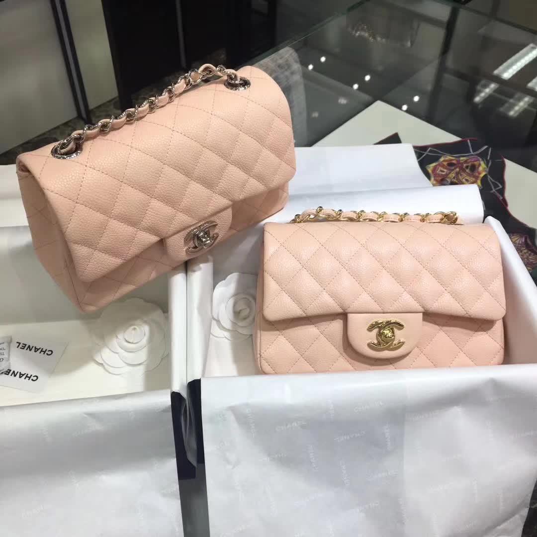 Chanel 香奈儿 Classic Flap 鱼子酱 裸粉色 20cm 银五金 现货
