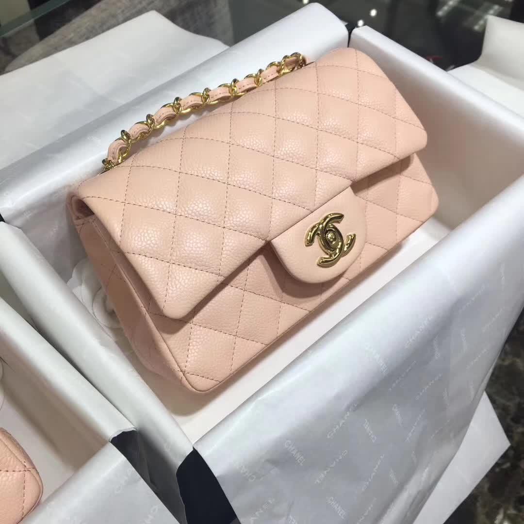 Chanel 香奈儿 Classic Flap 鱼子酱 裸粉色 20cm 金色五金 现货