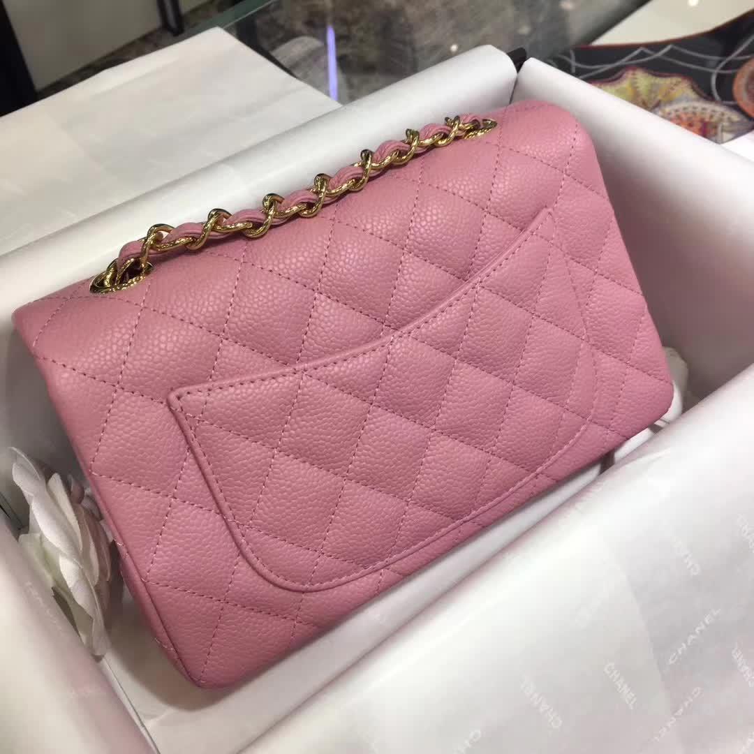 Chanel 香奈儿 ClassicFlap 鱼子酱 桃粉色 20cm 金色五金